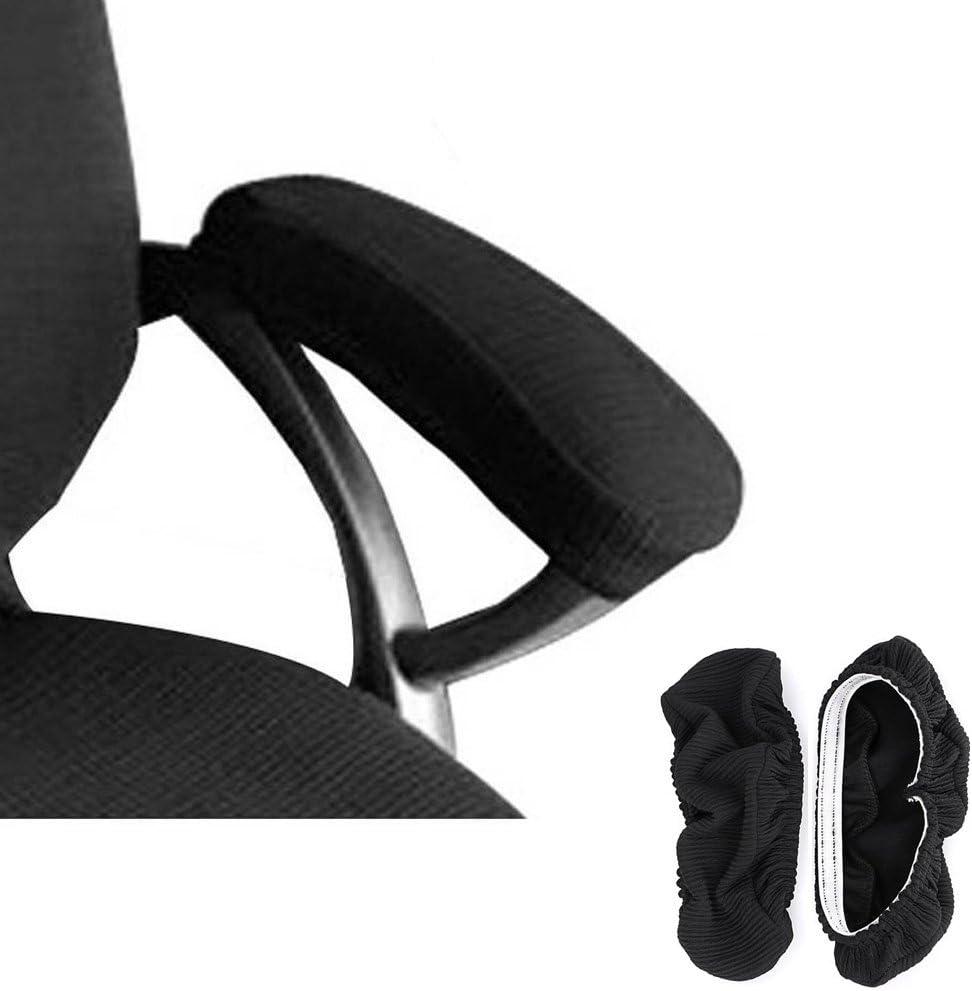 Melaluxe 2 Set Polyester Removable Office Chair Armrest Covers Arm Rest Slipcovers (Length-30cm) (Black)