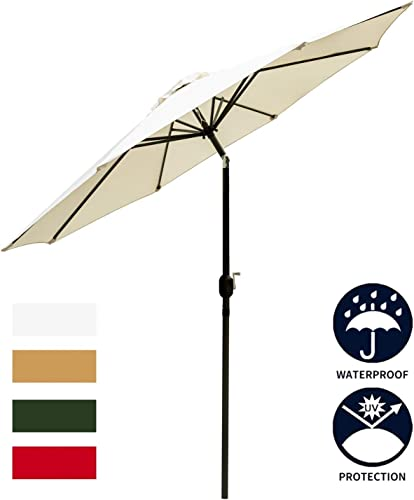 Leisurelife White 9 Patio Umbrella Outdoor – Heavy Strong Patio Table Umbrellas,8 Sturdy Ribs,Tilt and Crank