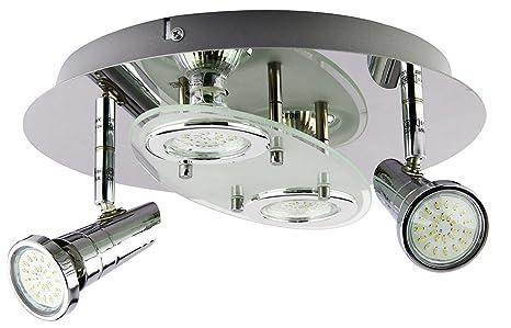 Trango Plafonnier 4 Ampoules Led Design Rond Pour Salle De Bains En Tg3088 4 X Ampoule Led Gu10 230 V