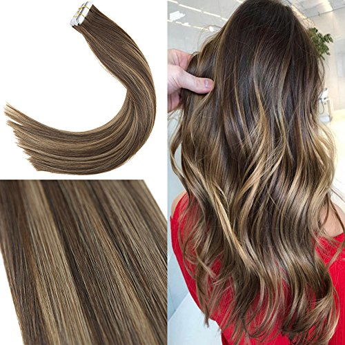 Youngsee 16inch Balayage Tape in Extensions Human Hair Dark Brown Highlight with Honey Blonde 100% Remy Straight Hair Extensions Tape in Real Human Hair 20pcs/50g