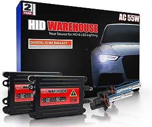 HID-Warehouse 55W AC Xenon Bundle with Slim AC Ballast (1 Pair) - 9005 5000K - 5K Bright White Xenon Bulbs (1 Pair)