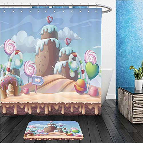 Beshowereb Bath Suit: ShowerCurtian & Doormat caramel background vector illustration sweet landscape for print create videos or web graphic - Web Macys