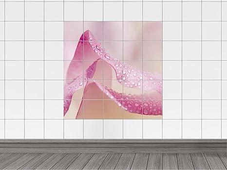 Piastrelle adesivo piastrelle immagine rosa fiore con gocce d
