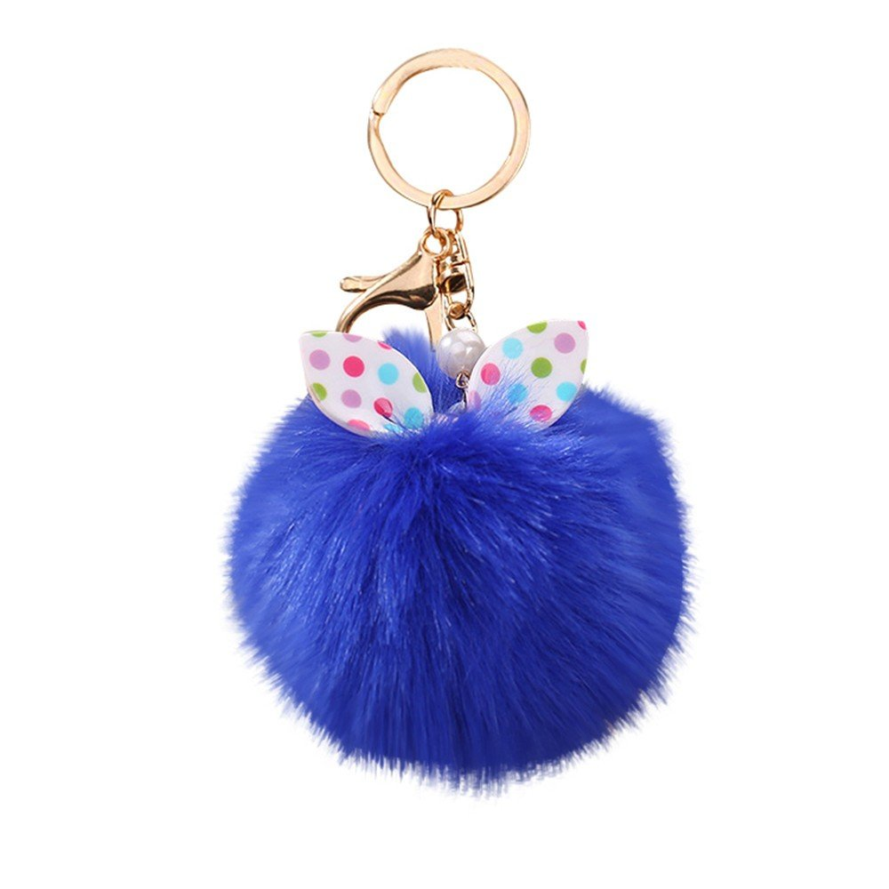Gbell Cute Puffy Pompom Key Chains for Girls-Fluffy Pom Pom Ball Keychain for Women Girl Gifts,Cell Phone Bags Purse Charm Pendant,1Pcs 13X8CM,Black,Pink,Beige,Red,Yellow,Coffee,Blue (Blue)
