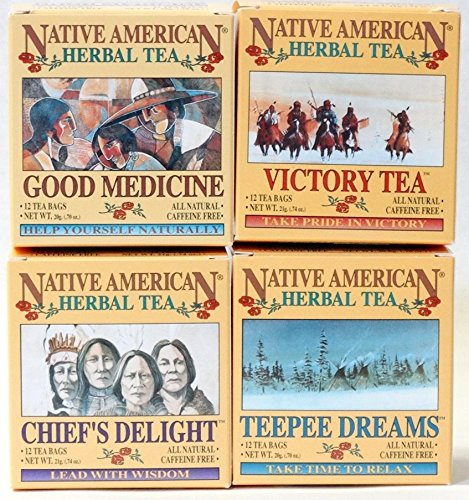Variety Pack Caffeine Free Native American Herbal Tea (4 boxes containing 12 teabags /box)