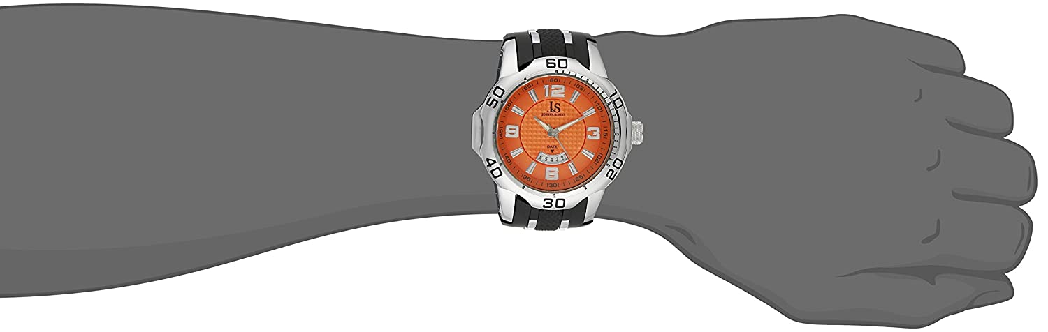 Amazon.com: Joshua & Sons Mens JX113OR Silver and Black Quartz Watch Set Includes JX115OR & JX110OR Orange and Black Silicone Strap: Watches