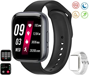 feifuns Smart Watch(Receive/Make Call)1.54'' Full Touch Screen Fitness Tracker with Life Water-Resistant Heart Rate/Blood Pressure/Oxygen Pedometer Sleep Track for Women Men Android iOS Phone (Black)