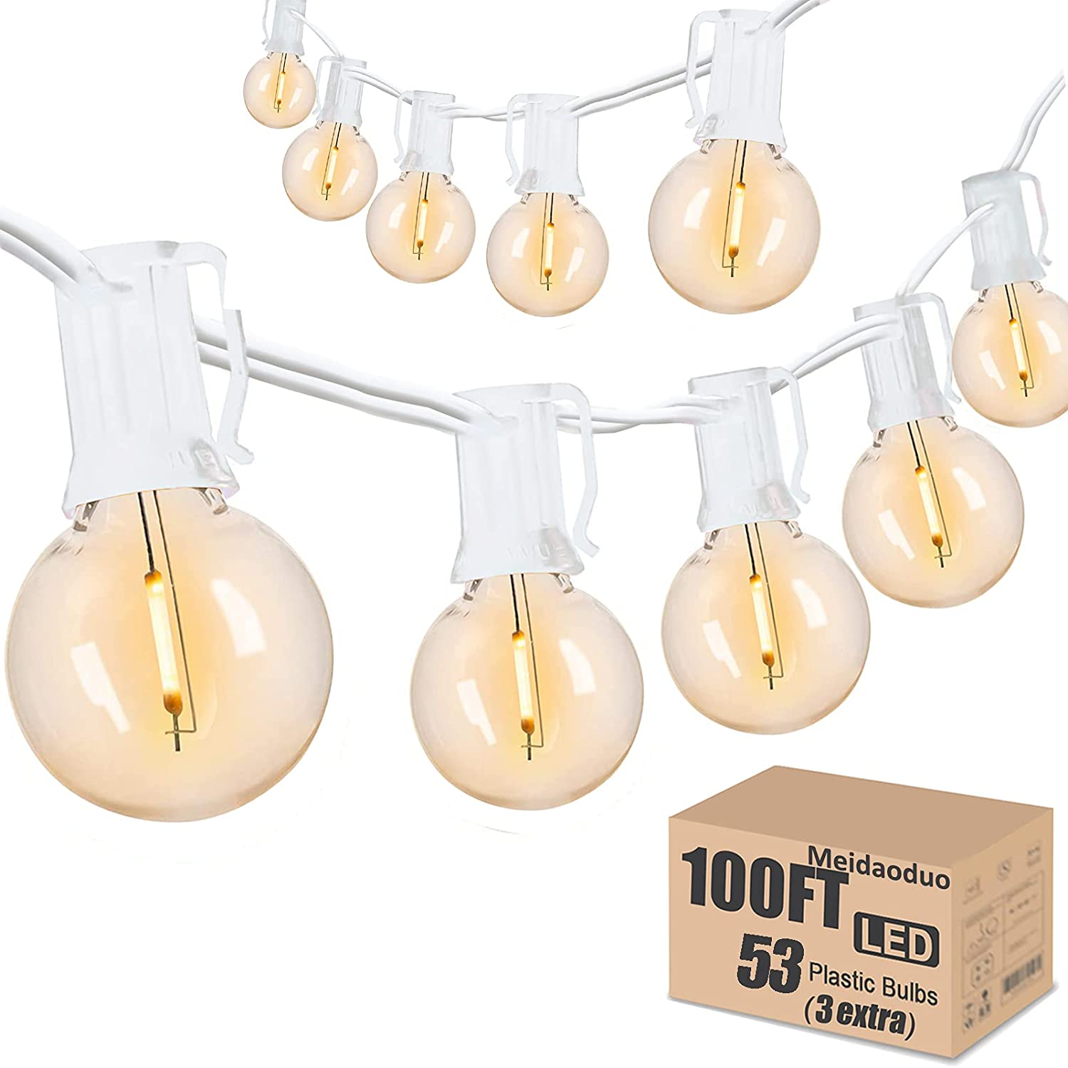 Outdoor String Lights Patio LED 100FT G40 Globe String Lights with 53 Shatterproof Clear Bulbs(3 Extra) for Indoor/Outdoor Wedding Pergola Gazebo Decor, White String Lights
