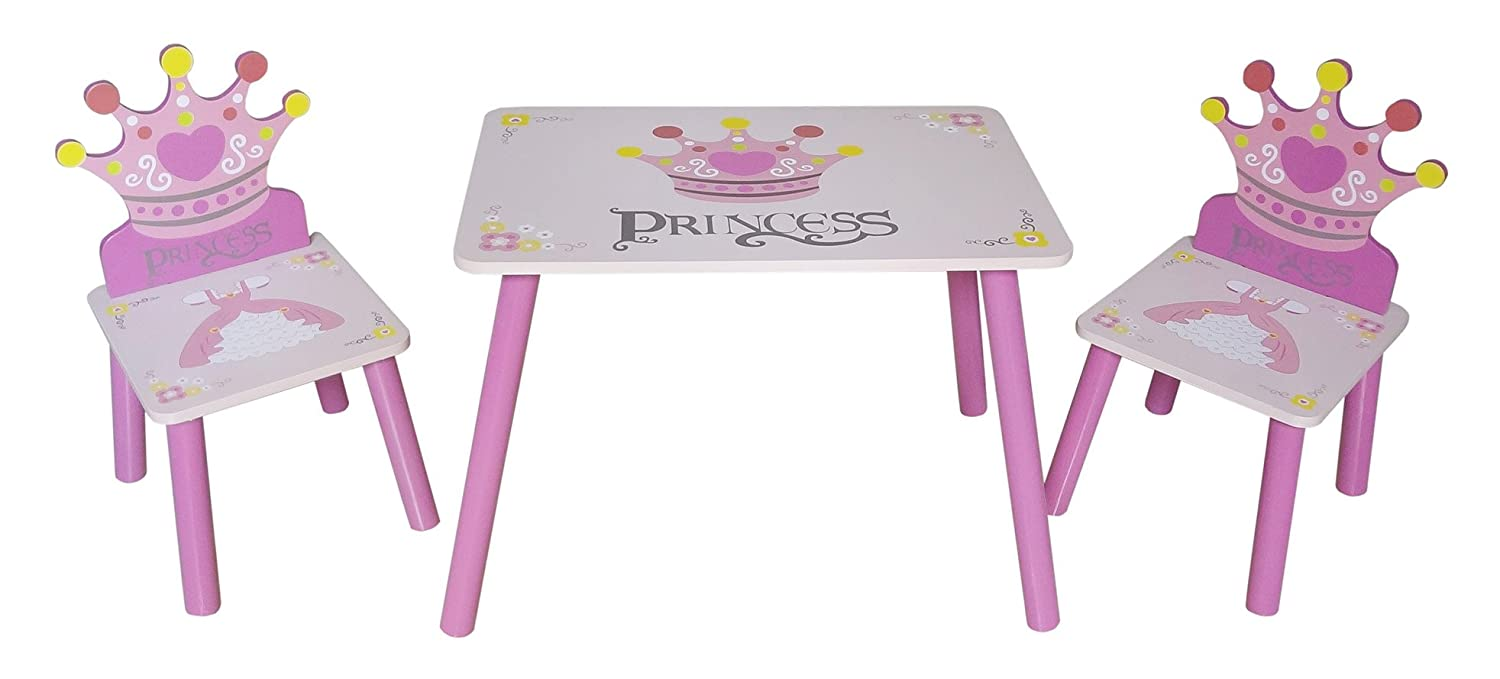 Kiddi Style Childrens Princess Themed Wooden Table and Chair Set , Pink Bebe Style PRNC-1CT2S
