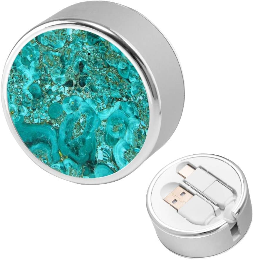 Multi Quick USB Charging Cable,Marble Turquoise Blue Gold 2 in1 Fast Charger Cord Connector High Speed Durable Charging Cord Compatible with iPhone//Tablets//Samsung Galaxy//iPad and More