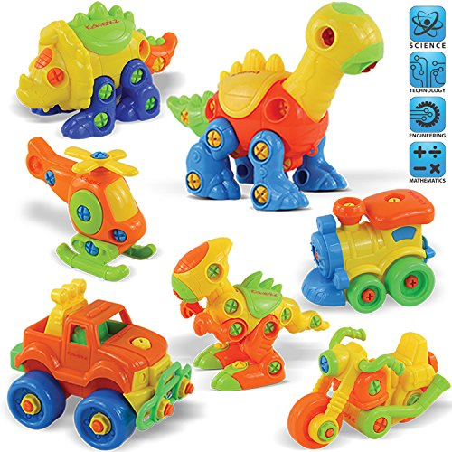 Kidwerkz Set of 7 Take Apart Toys - Dinosaurs, Helicopter, Train, Truck, Motorcycle - STEM Building Set-Hours of Fun-192 Pieces-Engineering Kit for Toddlers-Age 3, 4, 5 +Year Old