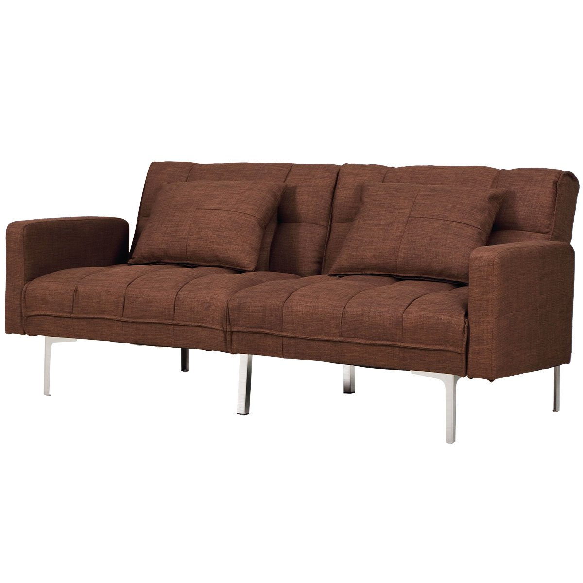 Giantex futon bed couch sofa modern reclining back double seats linen upholstery living room furniture loveseat sleeper recliner convertiable sofa bed