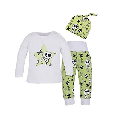 f3e630142a5e Amazon.com  Winsummer Newborn Baby Boy Girl Halloween Skull Cotton T ...