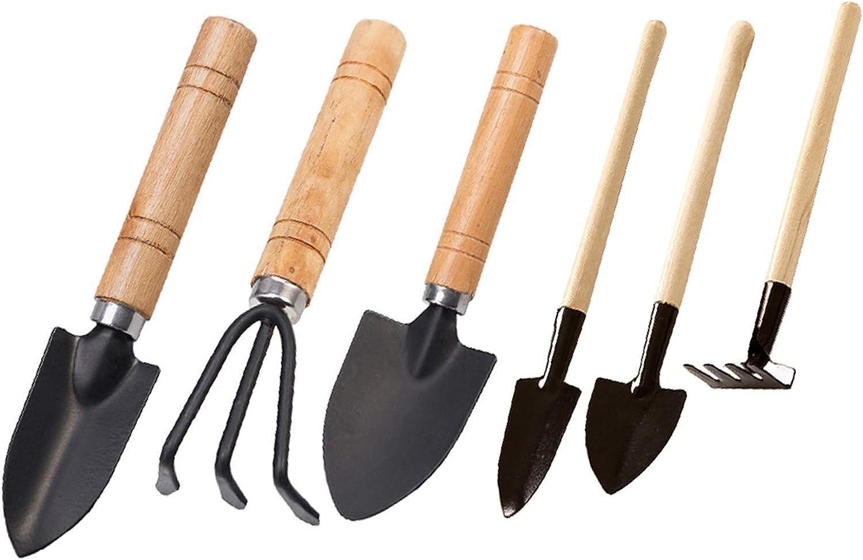 Garden Tools Set of 6 Pcs Hand Suit Mini Transplant Trowel Hand Rake Spade Shovel Cultivator Plant Potted Flower Gadget Wood Handle Carbon Steel for Cultivating Weeding Transplanting Seedlings