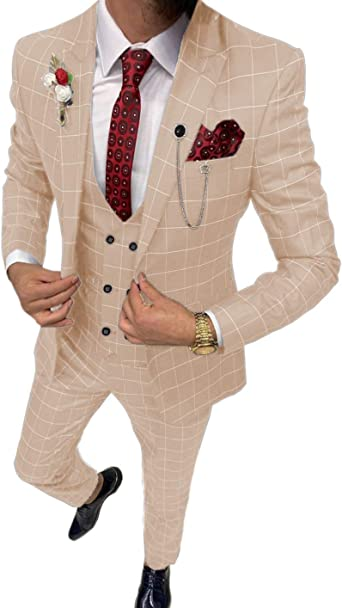 Men's 3 Piece Slim Fit Men Suit Separates Formal Lattice Wedding Suit  Tuxedos (Blazer+Vest+Pant) at Amazon Men's Clothing store