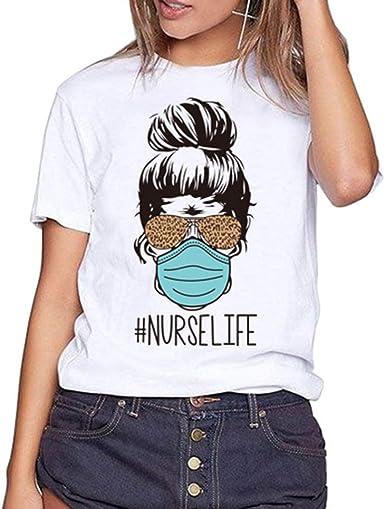 Camisetas Divertidas Mujeres Leopardo Gafas de Sol Enfermera Vida Gráfica Bendita Camisa Divertida Inspiración Adolescentes Niñas Camisetas Tops: Amazon.es: Ropa y accesorios