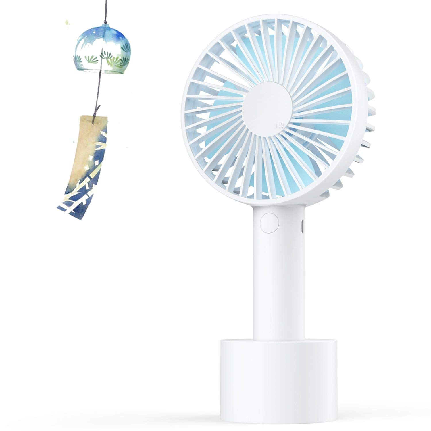 Elechomes Mini Handheld Fan, Personal Portable Desk Stroller Table Fan with USB Rechargeable Battery Operated Cooling Folding Electric Fan for Office Room Outdoor Household Traveling(3 Speed,White) product image