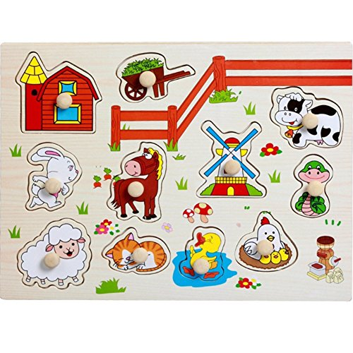 Little rock Cartoon Puzzle Toy Educational Wooden Toy Wooden Puzzles for Kids ()