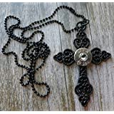 Black Decorative Cross Bullet Necklace with Swarovski Crystal