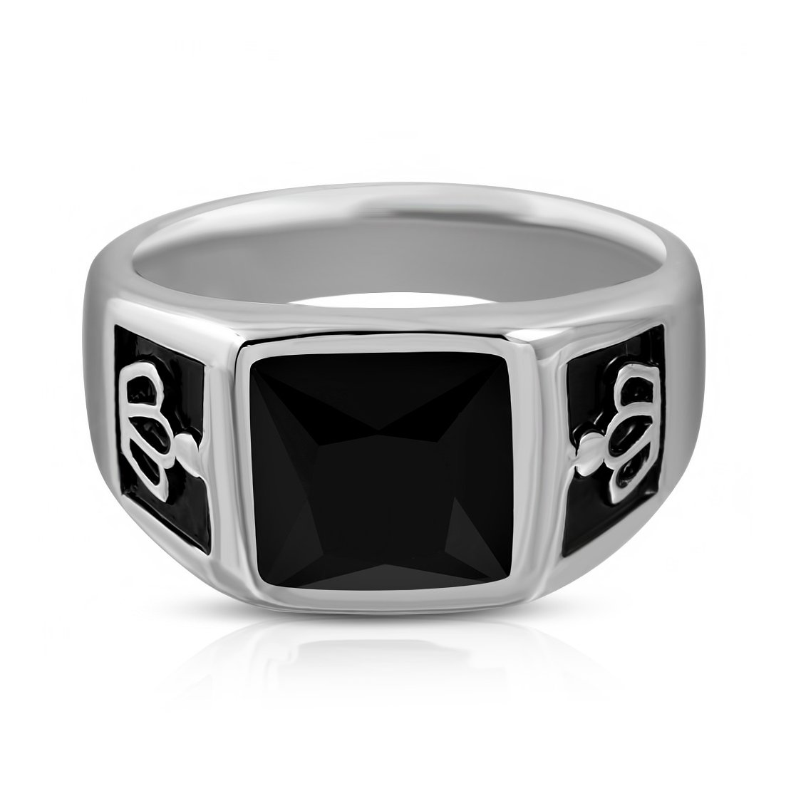 Stainless Steel 2 Color Royal Princess Crown Shank Bezel-Set Square Biker Ring with Black Glass Stone