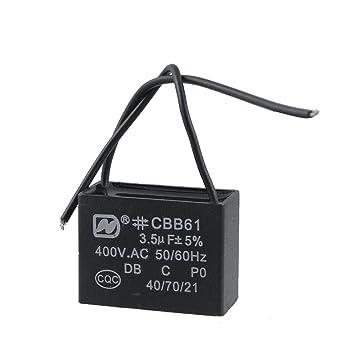 3.5uF MFD 400 V AC 50/60Hz 2 Black Wire Electric Fan Kondensator ...