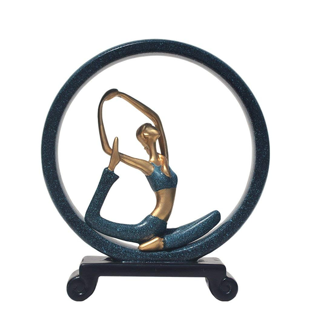Resin Crafts Home Decoration Creative Resin Round Yoga Ornaments, Modern European Home Accessories Living Room Blue Character Sculpture Arts and Crafts, 24 28cm (Color : A)