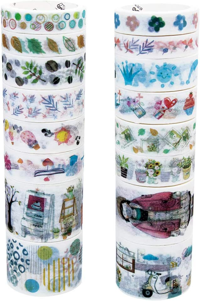 for DIY,Bullet Diary Decorative,Gift Wrapping,Scrapbook,Office,Party Supplies,Collection-Deer Molshine Set of 16 Washi Masking Tape Set,Sticky Paper Tape,Crafts Tape And 8 Die-cut Stickers 56pieces