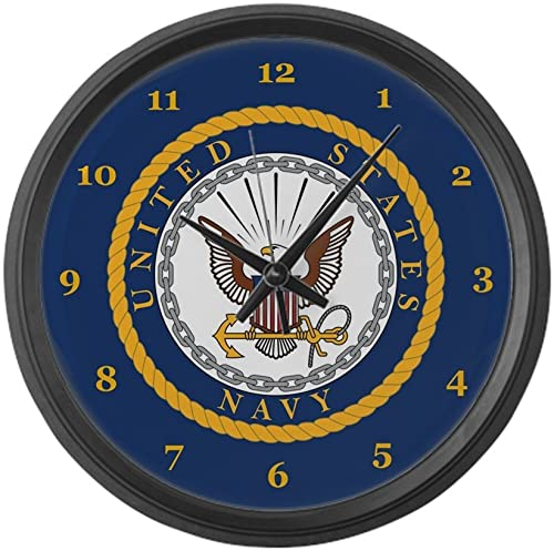 CafePress U.S. Navy Large 17 Round Wall Clock, Unique Decorative Clock
