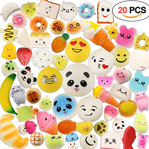 acetek Squishies Slow Rising,Random 20 pcs Squishy Toys Kawaii Squishies Party Favor with Cream Scented Novelty Toys Lovely Kids Gift Fidget Miniature Toys