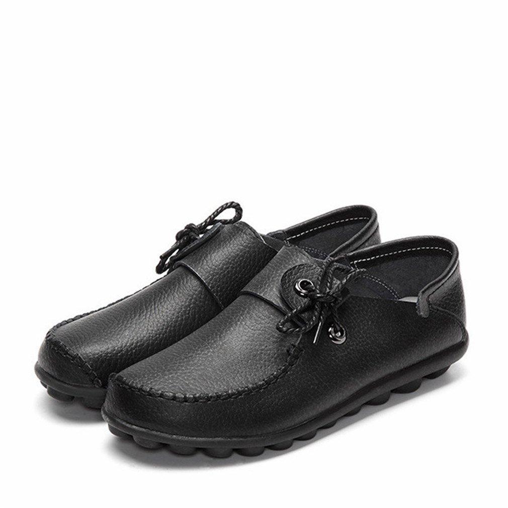 Fluores Scarpe Scarpe Scarpe casual da donna in pelle di mucca stile autunno nuovo Mocassini Scarpe da donna scarpe stringate donna con lacci  Nero 0e5195