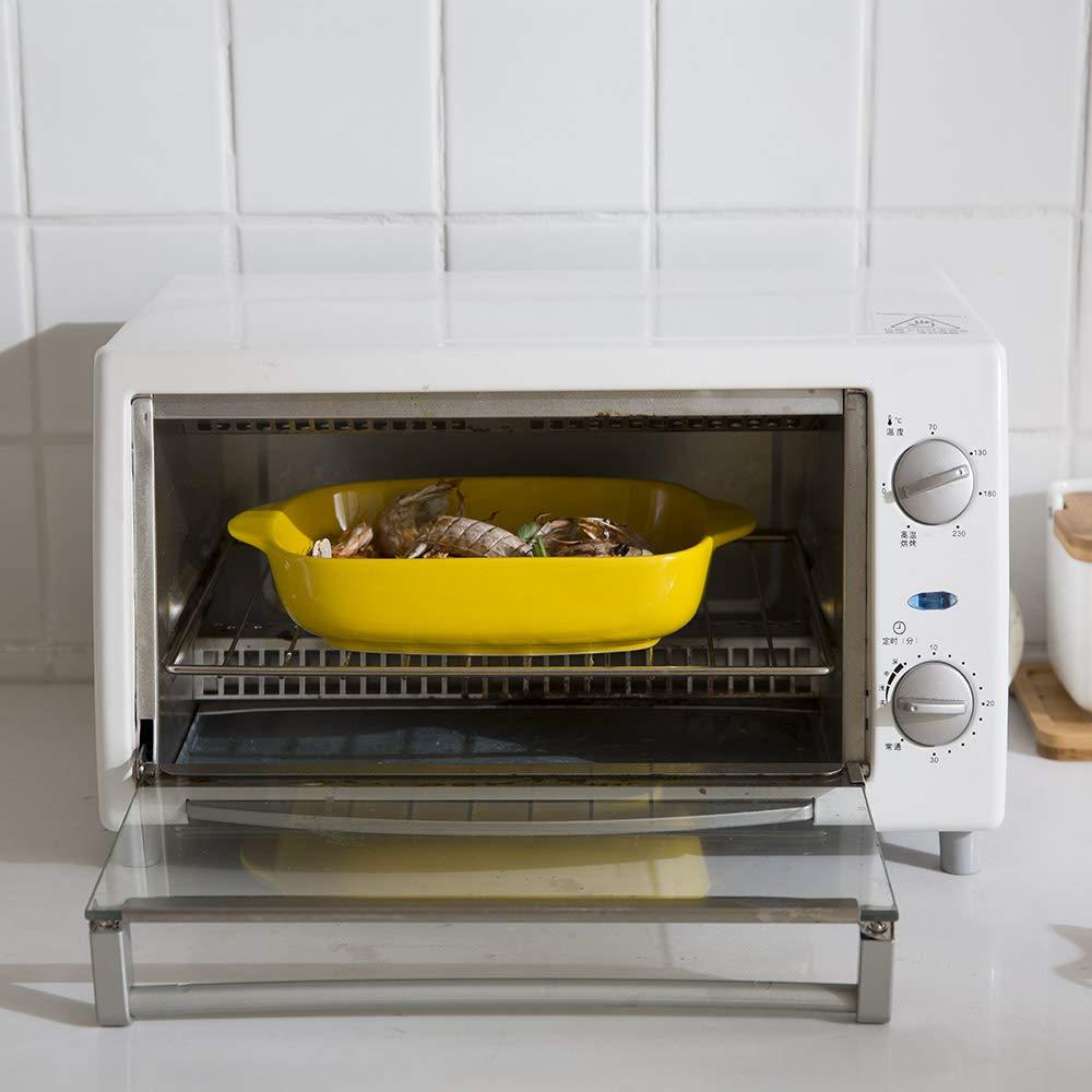 Ceramic Glaze Baking Dish for Oven Roasting Lasagna Pan Medium Rectangle Bakeware with Handle Blue