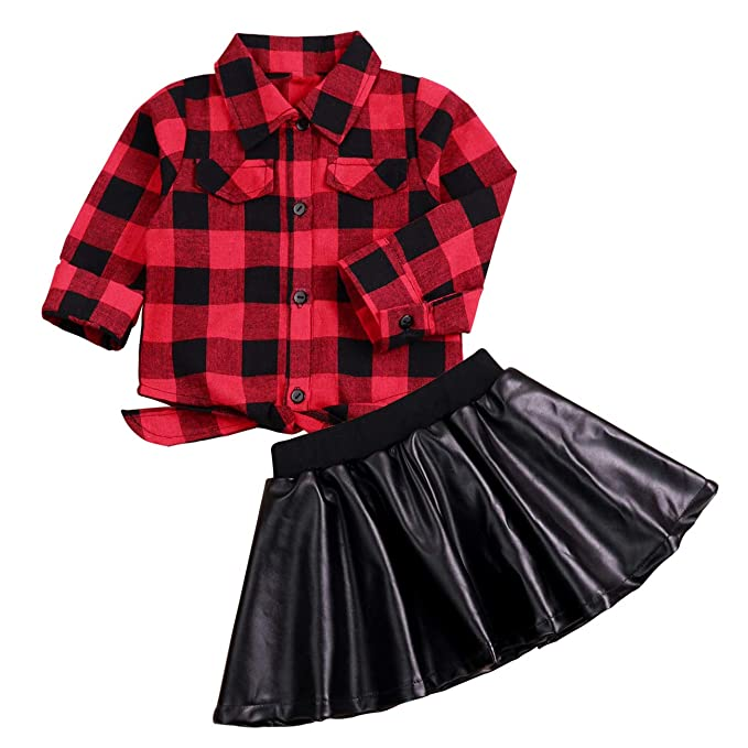 b06985986f 2pcs Baby Girl Clothes Little Girls Red Plaid Long Sleeve Shirt Outfits Toddler  Skirt Set(