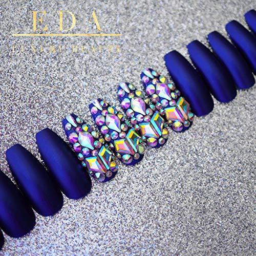 EDA LUXURY BEAUTY BLUE MATTE GLAMOROUS 3D JEWEL DESIGN Full Cover Press On Gel Glitter Artificial Nail Tips Shiny Acrylic False Nails Extra Long Ballerina Coffin Square Super Fashion Fake Nails
