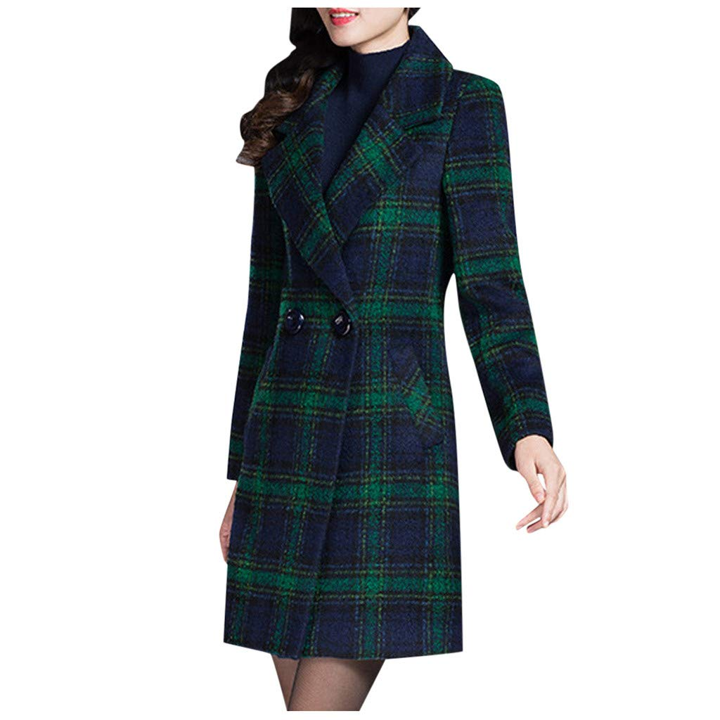 Excursion Clothing Women's Double Breasted Long Plaid Wool Blend Pea Coat Outerwear Lapel Collar Long Sleeve Blazer Pockets Jackets by Excursion Clothing