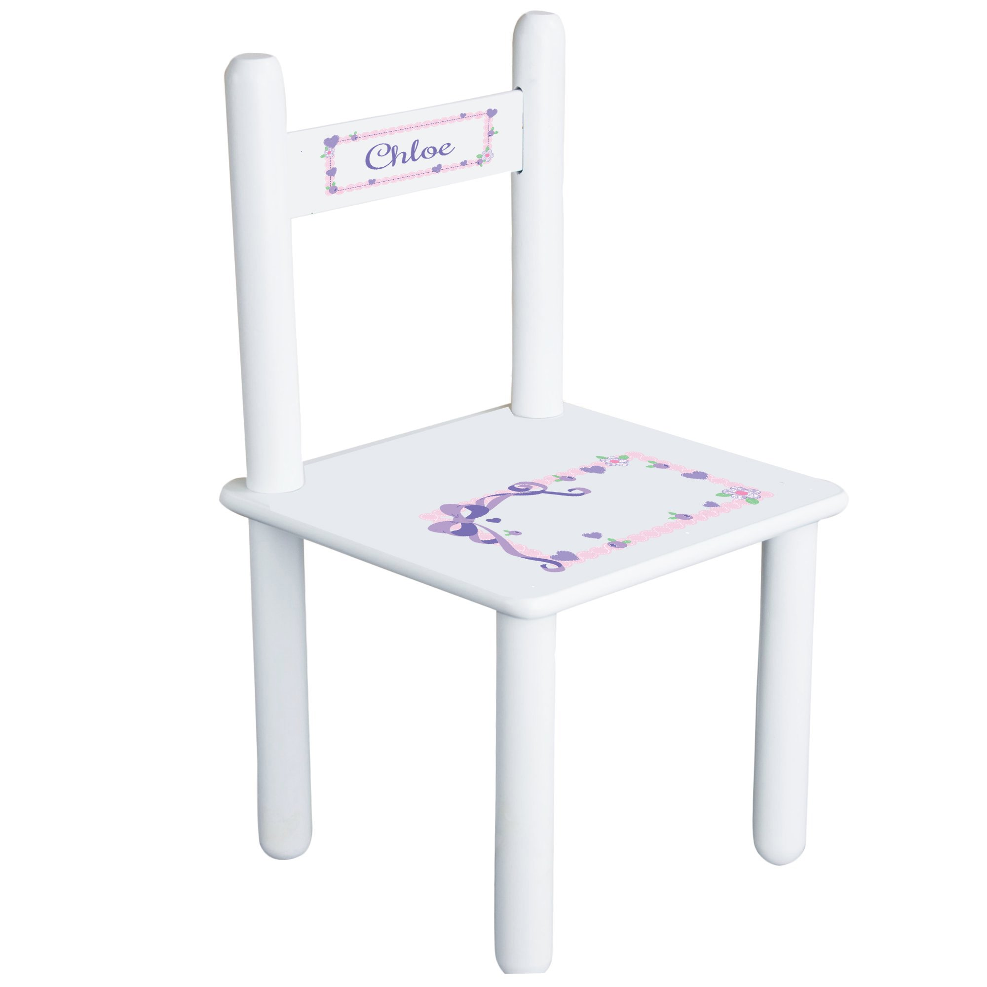 Personalized Lacey Bow Child's Chair - white