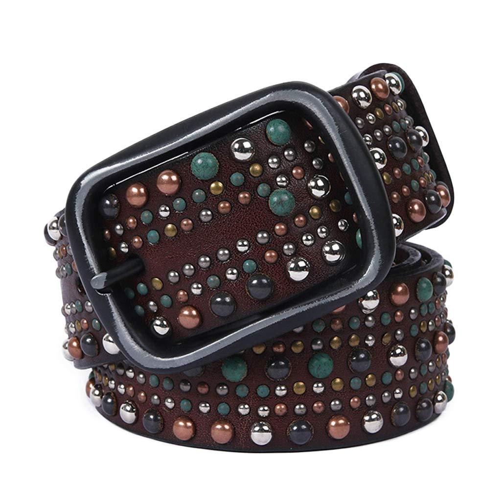 Coffee Belts Woman Leather Belt Geometric Rivet Pin Buckle PU Belts for Women Leather Strap for Jeans Belts (color   Black, Size   120cm)