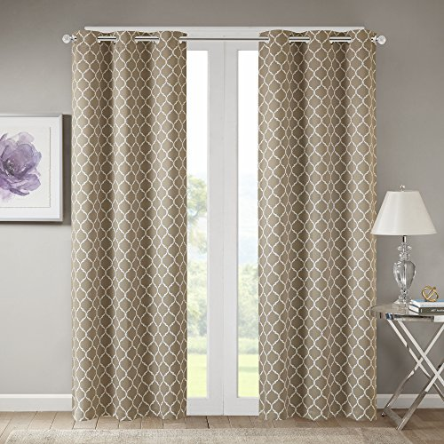 Comfort Spaces   Windsor Taupe Ogee Printed Window Curtain Pair   Set Of 2 Panels   42X84 Inch Panel   Blackout Room Darkening   Grommet Top   2 Pieces