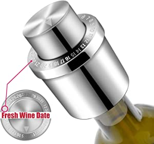 Wine Stoppers, GiniHomer Stainless Steel Wine Bottle Stopper, Reusable Silicone Vacuum Wine Stoppers with Time Scale Record