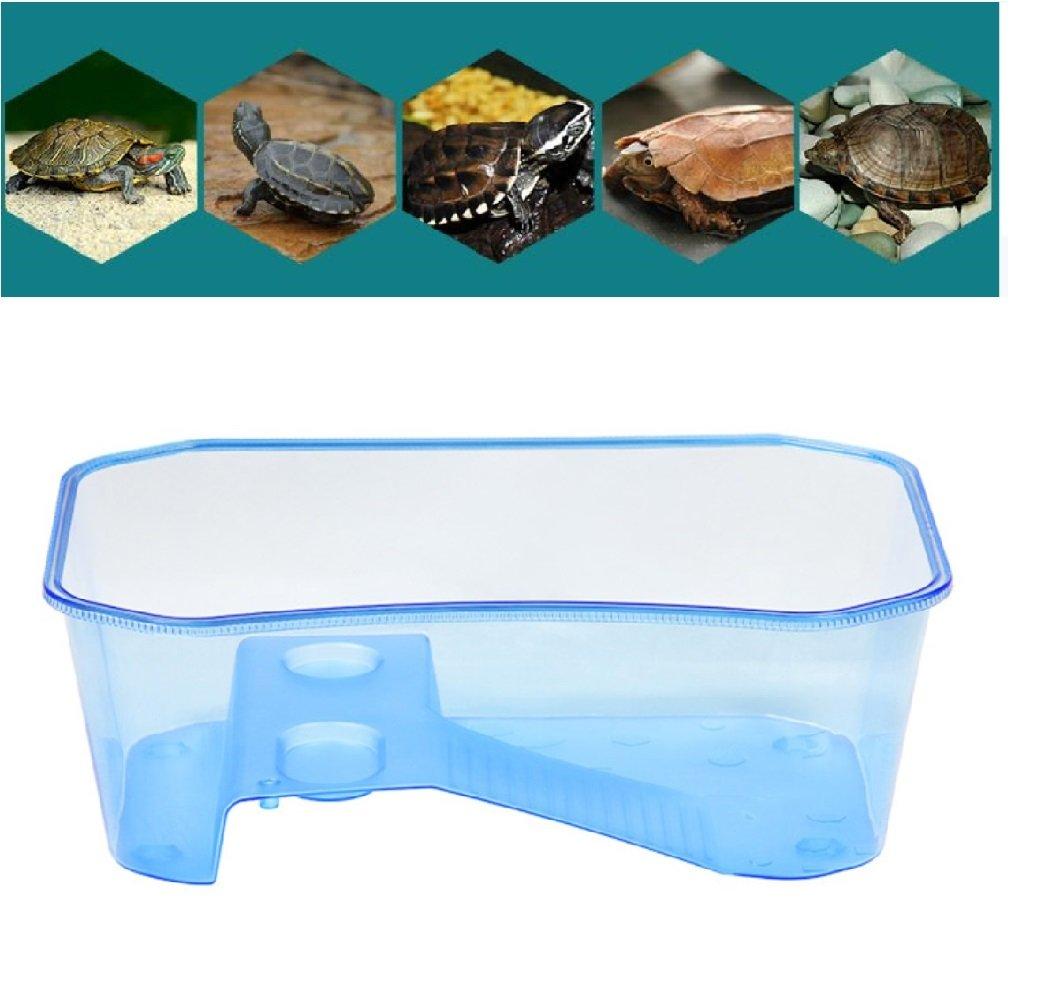 bluee Reptile Habitat,Turtle Habitat Terrapin Lake Reptile Aquarium Tank with Platform Plants (bluee)