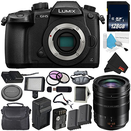 (Panasonic Lumix DC-GH5 Mirrorless Micro Four Thirds Digital Camera (Body Only) + Panasonic 12-60mm f/2.8-4 Lens + 128GB Class 10 Memory Card Bundle)