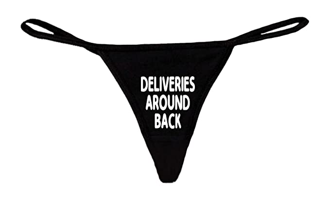 88626eb42db SHORE TRENDZ Women s Funny Sexy Thong Deliveries Around Back Lingerie  Panties  Black (Small)