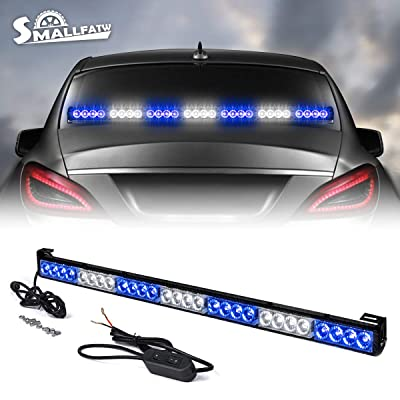 SMALLFATW 32 Inch 28 LED Emergency Warning Light Bar Flash Strobe Light Bar Universal Vehicles Trucks Traffic Advisor Light (Blue/White, NO suctions): Automotive