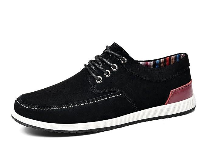... cuero para hombres Mocasines de gamuza Mocasines para hombres Zapatos de barco con cordones Zapatillas de deporte planas: Amazon.es: Ropa y accesorios