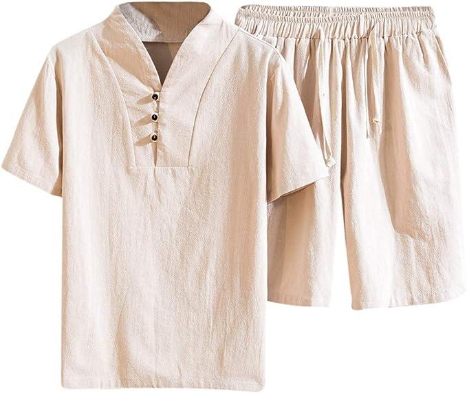 Lefthigh Mens Tracksuit Summer Fashion Cotton Linen Short Sleeve Shorts Set Solid Sports Suit