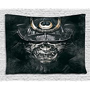 Ambesonne Japanese Decor Collection, Fearful War Mask Facial Armour of Samurai Asian Medieval Culture Horror Spooky Theme, Bedroom Living Room Dorm Wall Hanging Tapestry, 80 X 60 Inches, Black Grey