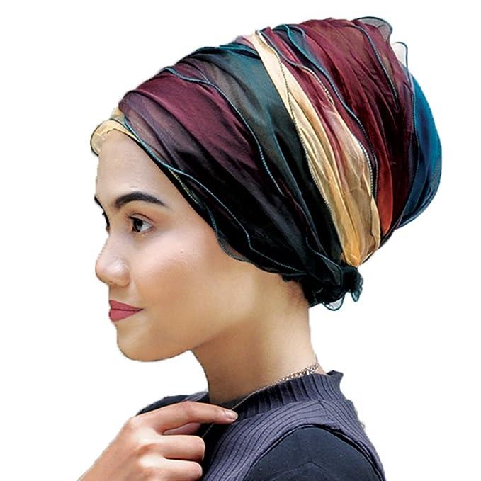 Silk Story Layer Women Turban Hijab Headband Chemo Hair Loss Cover Pink Blue (Brown Green