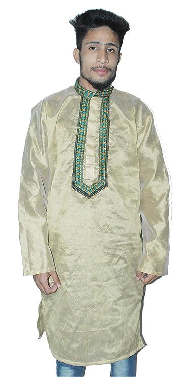 Lakkar Havali Indian 100/% Cotton Mens Shirt Tunic Loose Fit Solid Kurta Plus Size Sky Blue Color Length 36