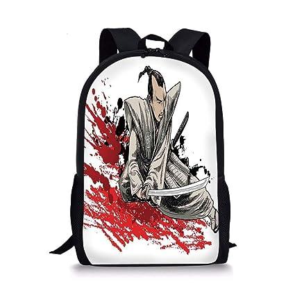 Bolsas de Escuela japonesas, Guerrero sosteniendo una Katana ...