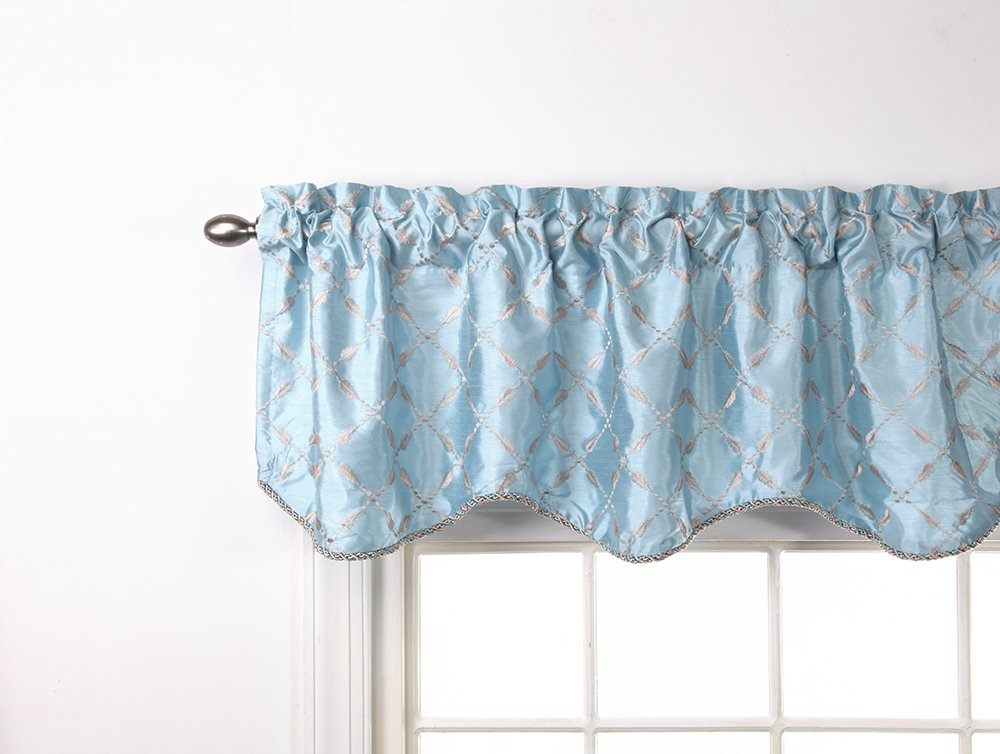 Stylemaster Renaissance Home Fashion Savoy Lined Scalloped Valance with Cording, 56-Inch by 17-Inch, Spa