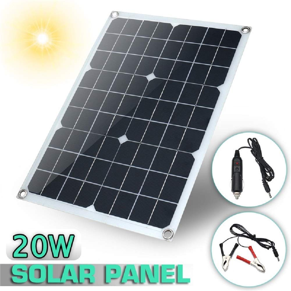 HDT Solar Charger 12V 20W USB Monocrystalline Solar Panel with Car Charger for Outdoor Camping Emergency Light Waterproof